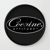 cocaine Wall Clocks featuring Cocaine Attitude by Trash Apparel