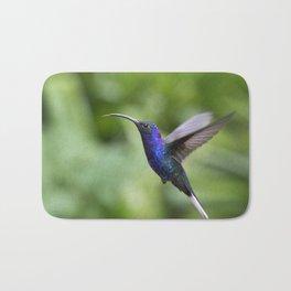Violet Sabrewing Hummingbird in Flight Bath Mat