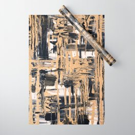 Black and Gold abstract painting Wrapping Paper