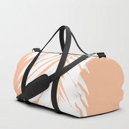 Palm Leaf White on Apricot Ice Duffle Bag