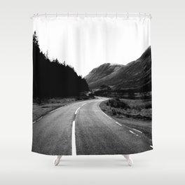 Road through the Glen - B/W Shower Curtain