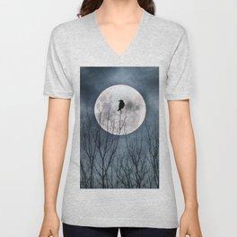 Night Raven Lit By The Full Moon Unisex V-Neck