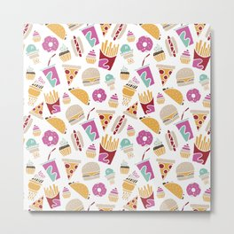 Fast Food Borderless Pattern Metal Print