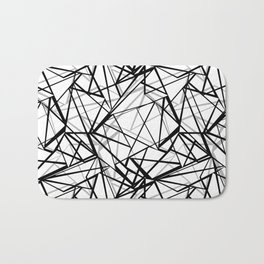 Black and white abstract geometric pattern . Bath Mat