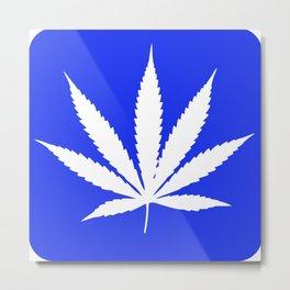 Marijuana Leaf Blue Background Metal Print