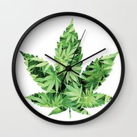 cannabis Wall Clocks featuring Cannabis Leaf by Teo Sharkson