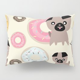 Pug and donuts beige Pillow Sham