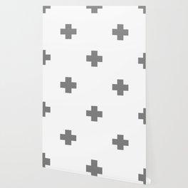 Light Grey Swiss Cross Pattern Wallpaper