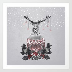 Christmas Deer (by Mariam & Nika) Art Print
