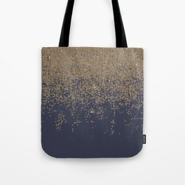 Navy Blue Gold Sparkly Glitter Ombre Tote Bag