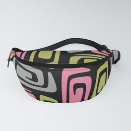 Mid Century Modern Cosmic Abstract 736 Black Pink Green and Gray Fanny Pack