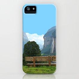Switzerland alps, Swiss mountains and waterfall. Lauterbrunnen. iPhone Case