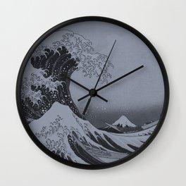 Silver Japanese Great Wave off Kanagawa by Hokusai Wall Clock