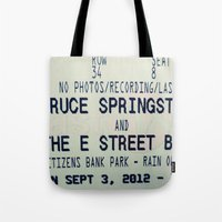 springsteen Tote Bags featuring Bruce Springsteen & the E Street Band: Rain or Shine by Christine Leanne