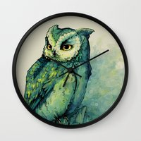 hell Wall Clocks featuring Green Owl by Teagan White