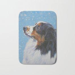 Australian Shepherd dog portrait fine art painting by L.A.Shepard Bath Mat