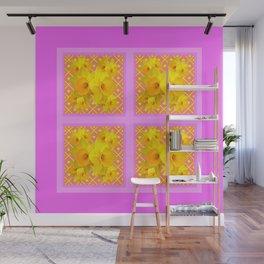 Fuchsia Quatre Panel Daffodil Pattern Wall Mural