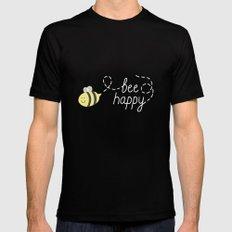 Bee Happy MEDIUM Black Mens Fitted Tee