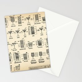 COCKTAIL poster, cocktail chart print Stationery Cards