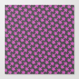 Dumbbellicious PINK GREY Canvas Print