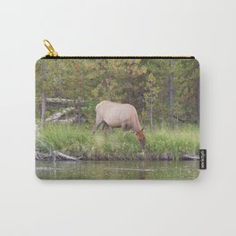 Large Elk Cow Feeding near river Carry-All Pouch