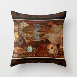 Steam Dreams - Steampunk Theme Throw Pillow