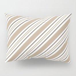 Pantone Hazelnut Nutmeg and White Thick and Thin Angled Lines - Stripes Pillow Sham
