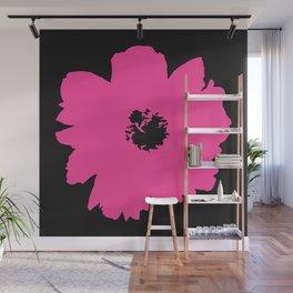 Pink Peony (Black) Wall Mural
