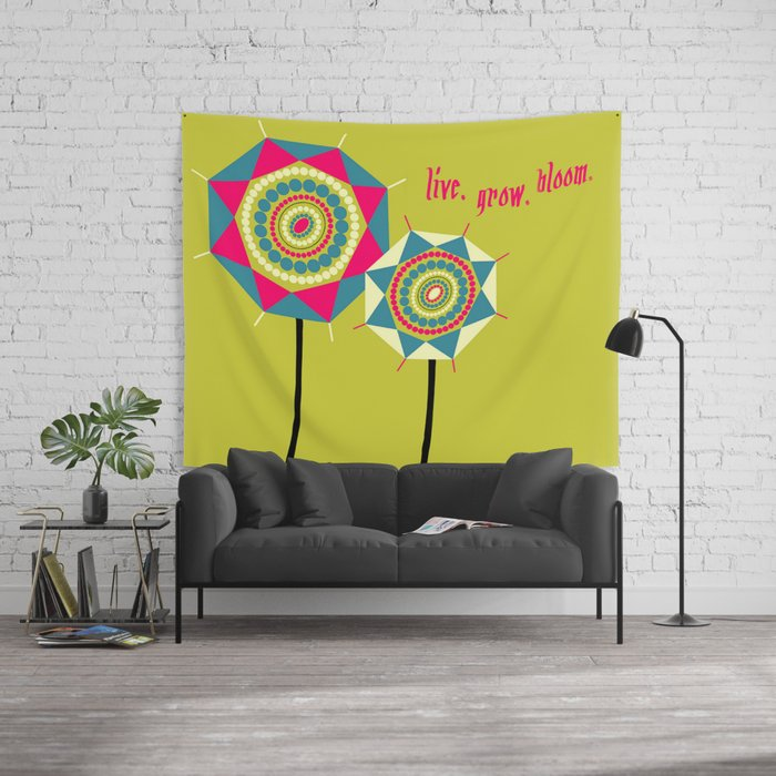 Abstract Geometric Circles and Triangles Floral Illustration Wall Tapestry