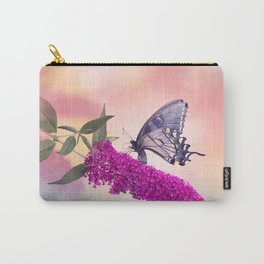 Black Swallowtail Butterfly Feeds on purple flowers Carry-All Pouch