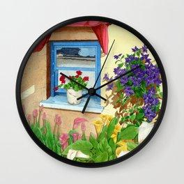 provencal_blue_window Wall Clock