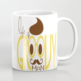 Typography Print Life is Groovy Man Hipster Eyeglasses Mustache Coffee Mug