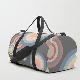 Pastel Rainbow Bubbles Pattern on grey background Duffle Bag