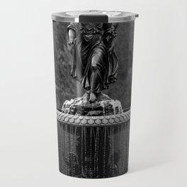 Believe in Magic, Bethesda Terrace Angel Fountain black and white photograph / art photography Travel Mug