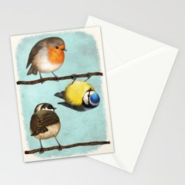 Three Little Birbs - Blue Stationery Cards