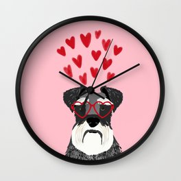 Schnauzer head valentines day dog breed gifts for pure breed rescue dogs Wall Clock