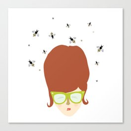 Retro lady with a beehive hairdo Canvas Print
