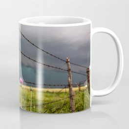 Barbed Wire and Flowers - Country Scenery on Stormy Day in Texas Coffee Mug