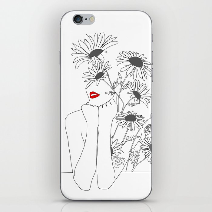 Minimal Line Art Girl with Sunflowers iPhone Skin