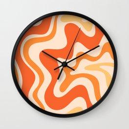 Tangerine Liquid Swirl Retro Abstract Pattern Wall Clock