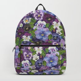 Watercolor pansy flowers- purple mix Backpack