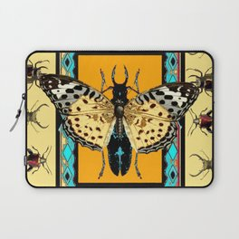 BUTTERFLY WESTERN YELLOW-ORANGE-TURQUOISE INSECT  PATTERNS Laptop Sleeve