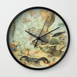SEA CREATURES COLLAGE, OCEAN ILLUSTRATION Wall Clock