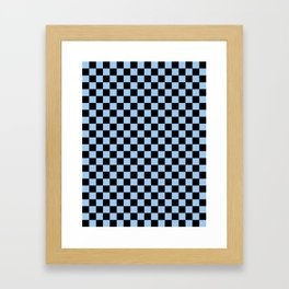 Black and Baby Blue Checkerboard Framed Art Print