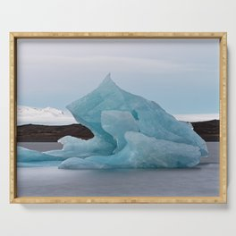 Big blue iceberg in front of a glacier Serving Tray