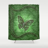 decorative Shower Curtains featuring Decorative butterfly by nicky2342