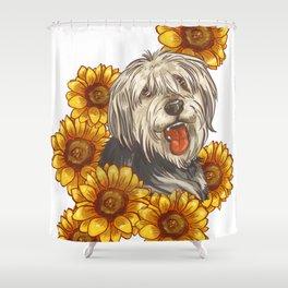 Dog sunflower Shower Curtain