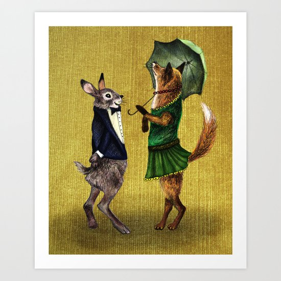 Fox and Hare Art Print