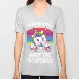 Badass Shut the FuCupCakes Joke Unicorn Rude product design Unisex V-Neck