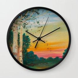Daybreak at the Pond's Edge by Ainé Daveéd Wall Clock